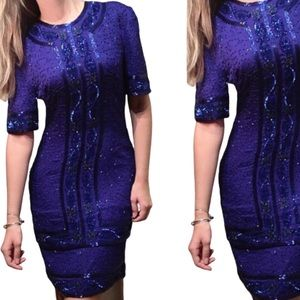 Vintage silk beaded blue fitted cocktail dress